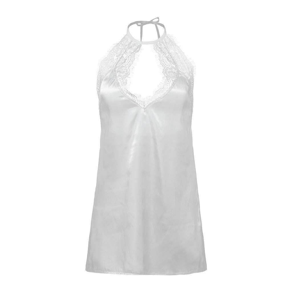 Women's Satin Nightgown Halter Sleepwear V-Neck Lingerie Slips Mini Slip Sleepwear Short Nightwear White