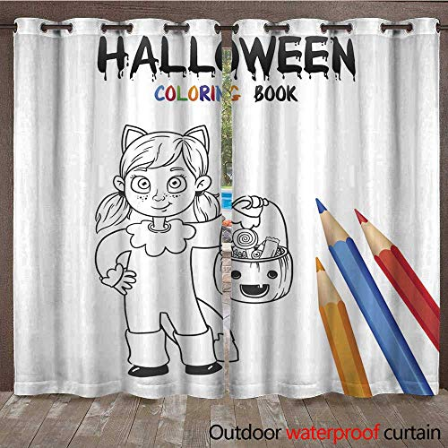RenteriaDecor Outdoor Ultraviolet Protective Curtains Halloween Coloring Book Cute Baby Cartoon Character W96 x L108 -