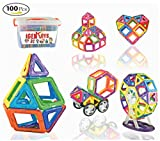 IgenToys Magnetic Blocks 100 Pc. Set Storage Box & Booklet-Magnetic Building Blocks- Magnetic Blocks Educational Toy Kids - Magnet Tiles-Fun Games-Strong Magnet- Great Gift