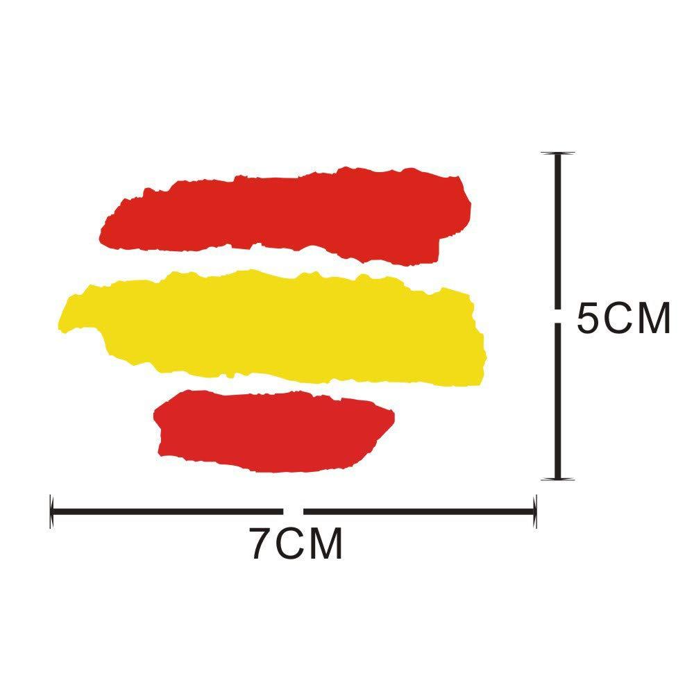 Gudotra 4pcs Pegatina Bandera Espa/ña para Coche Pared Puerta Nevera Carpeta Spain Flag Colores