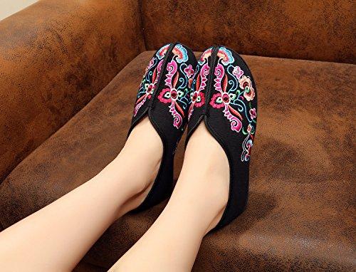 xichengshidai - Mocasines de Lona para mujer multicolor multicolor negro