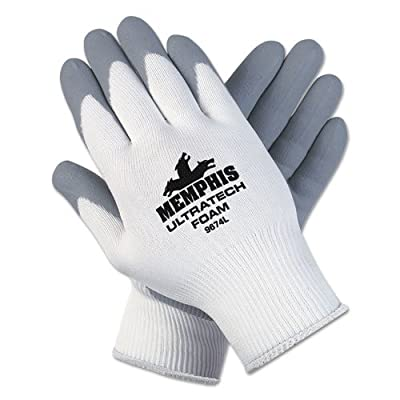 MCR 9674XL Memphis Ultra Tech Foam Seamless Nylon Knit Gloves, Extra Large, White/Gray, Quantity 12