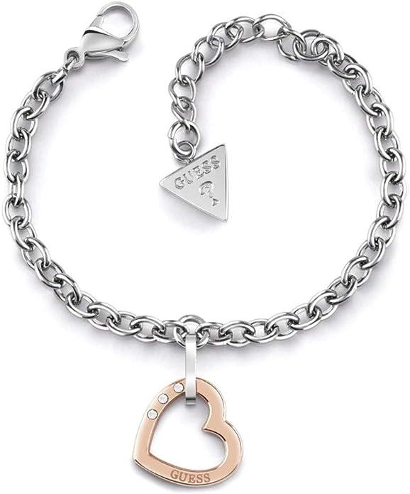 Guess Señoras Brazalete UBB11332 Rosa Cable Silverheart Caja de Regalo Madres RRP £ 25