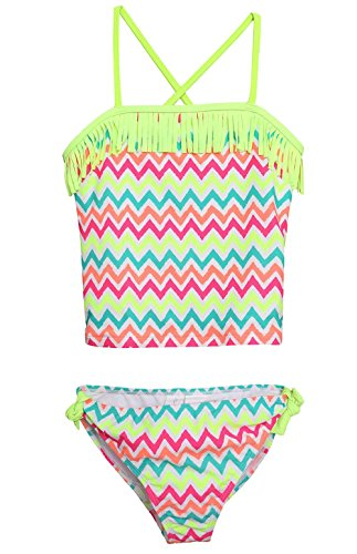 Attraco Big Girls Rainbow Wave Stripe Two Piece Swimsuit Tankini Set Size 10