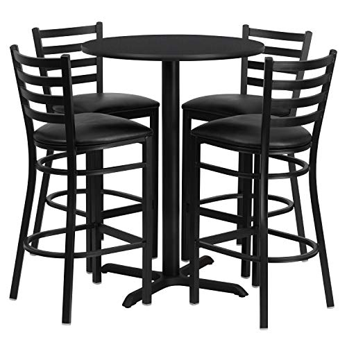 Flash Furniture 30'' Round Black Laminate Table Set with 4 Ladder Back Metal Barstools - Black Vinyl - Ladder Flash Furniture Black