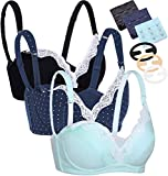 CAKYE Women's Underwire Maternity Nursing Bra 3PACK (38C, Black/Navy/Mint Green 3pcs/Pack)