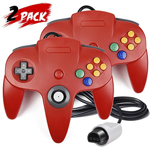 2 Pack N64 Controller, iNNEXT Classic Wired N64 64-bit Gamepad Joystick for Ultra 64 Video Game Console N64 System Mario Kart (Red)