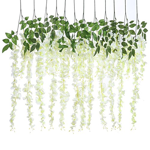 Veryhome Pack of 6pcs 3.18 Feet Artificial Silk Wisteria Vine Ratta Silk Hanging Flower Wedding Decor(White,Style3)
