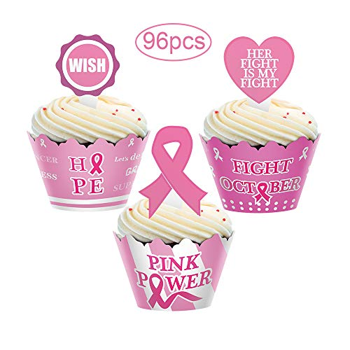 96pcs Breast Cancer Awareness Cupcake Topper Wrapper Party Supplies Pink Ribbon ()