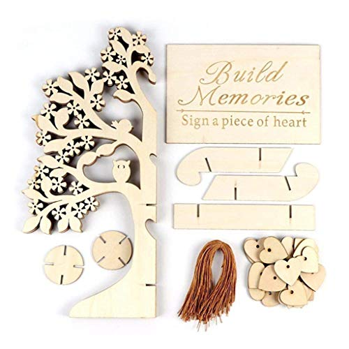 QUICATCH DIY Wedding/Graduation/Birthday Guest Book Tree Baby Shower Guest Book Wooden Hearts Pendant Drop Ornaments Party Decoration -