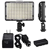 Dimmable Camera LED Video Light Kit - 176 Ultra Thin Digital Lamp Panel with NP-F550 Battery,Travel & Car Charger Adapter, 2 Color Filters for Nikon Canon Panasonic DSLR Cameras and DV Camcorder