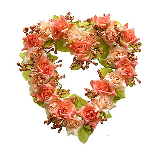 Adeeing Vintage Handmade Natural Wall Hanging Wreath Heart-shape Garland for Wedding Home Decor Red Heart Shaped Berry Wreath