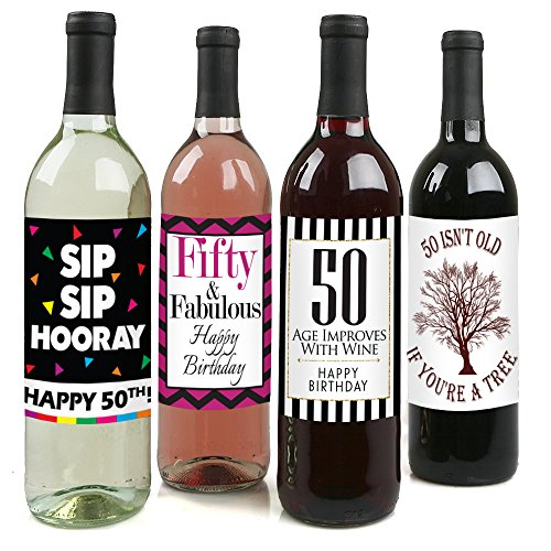 Chic 50th Birthday Wine Label Pack - Birthday Party Supplies, Ideas and Decorations - Funny Birthday Gifts for (Grease Party Ideas)