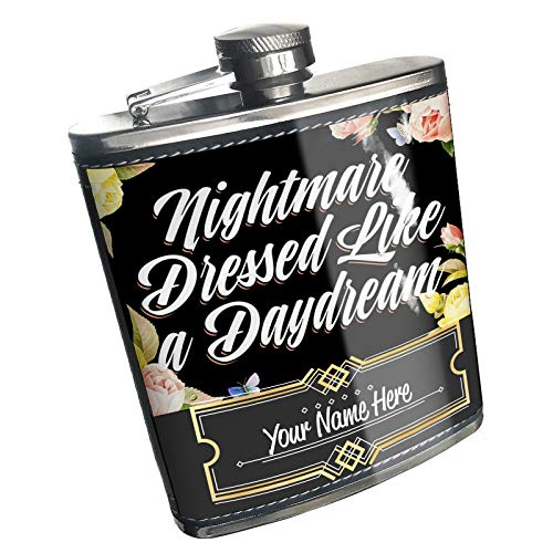 Neonblond Flask Floral Border Nightmare Dressed Like a Daydream Custom Name Stainless Steel ()