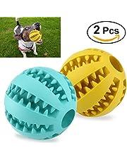 UEETEK 2pcs Juguete de goma masticar mascotas, Squeaker Squeeze Pet Ball juguetes, bola interactiva para mascotas perros masticar jugar Traning ejercicio, diámetro 7.1cm (amarillo + azul)