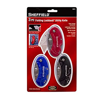 Sheffield 10712 Folding Lockback Utility Knife Set (3 Piece)