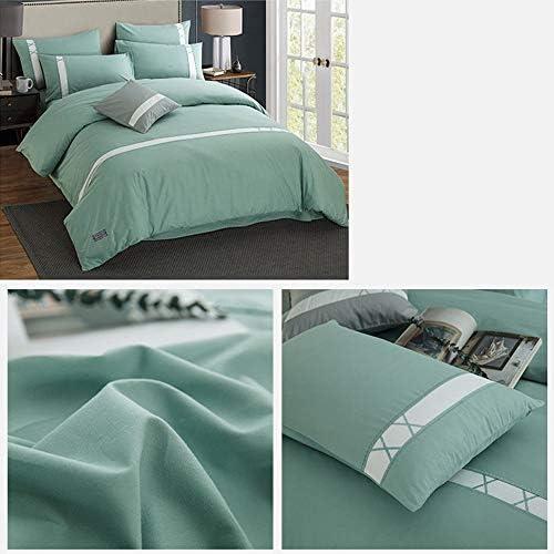 Ensemble de draps Cotton Quilt Set Solid Color Simple, Couette, Drap De Lit, Taie 2 (cyan) (Size : M)