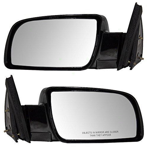 Driver and Passenger Manual Side View Mirrors Standard with Plastic Bases Replacement for Chevrolet GMC Pickup Truck SUV 15764759 15764760