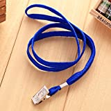 200Pcs Blue Blank Flat Nylon Neck Lanyards / Straps / Strings with Bulldog Badge Clip Attachment for Office ID Name Tags and Badge Holders