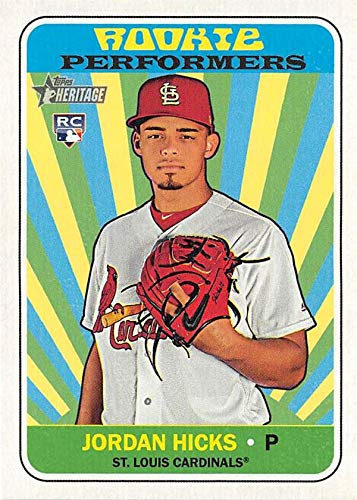 (Jordan Hicks baseball card Rookie Performers (St Louis Cardinals Pitcher) 2018 Topps Heritage #RPJH Insert Edition)