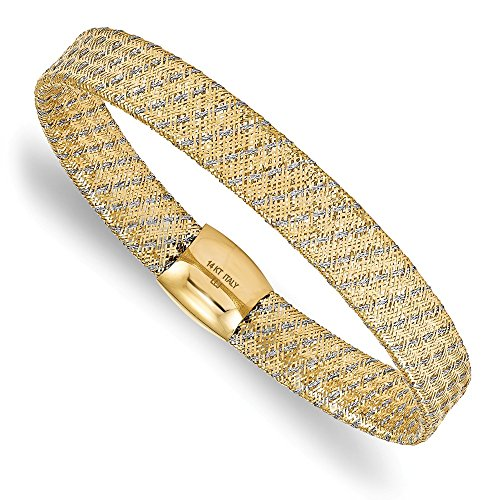 (Leslie's 14K Two-tone Gold Fancy Stretch Bangle Bracelet ~ Length 7.5'' inches ~ from Roy Rose)