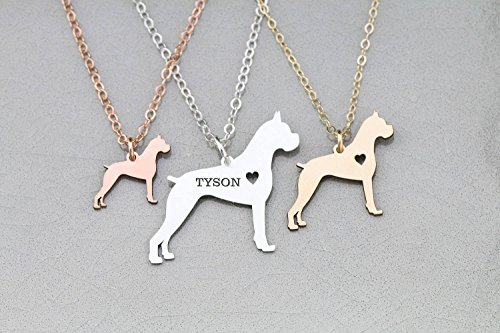 Boxer Dog Necklace - German - IBD - Personalize with Name or Date - Choose Chain Length - Pendant Size Options - 935 Sterling Silver 14K Rose Gold Filled Charm - Boxer Gifts Brindle Dog