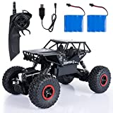 SGILE 1:14 RC Cars with Two Battery - 4WD 2.4Ghz 4x4 Crawlers Off-Road Rock Vehicle Toy - Radio Remote Control Racing Truck Monster - Rechargeable Electric Race Buggy For Kids Adults Hobby Toys, Black