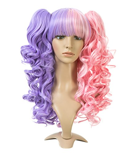 ZUUC Lolita Clip on Two Ponytails Wavy Party Costume Cosplay Wig (Purple Pink ZU1622D)