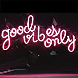 LiQi ' GOOD VIBES ONLY' Real Glass Handmade Neon Wall Signs for Home Decor Wall Light Room Decor Home Bedroom Girls Pub Hotel Beach Cocktail Recreational Game Room (14'' x 8'',PINK)