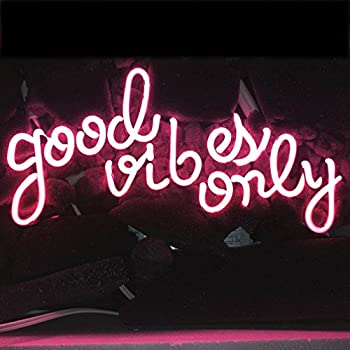 LiQi ' GOOD VIBES ONLY' Real Glass Handmade Neon Wall Signs for Home Decor  Wall