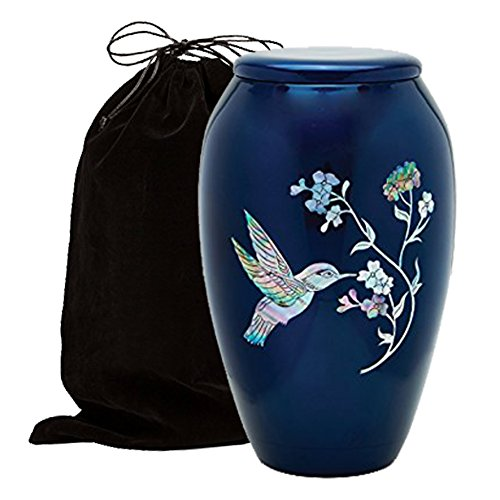 Mother of Pearl Inlaid Metal Cremation Urn