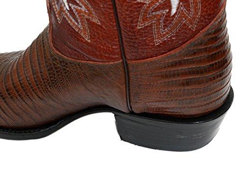Hommes Véritable Cuir De Vachette Lézard Impression J Toe Bottes De Cowboy Tan