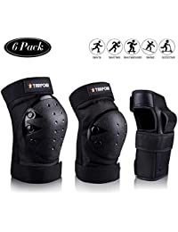 Knee Pads for Kids/Adult Elbows Pads Wrist Guards 3 in 1 Protective Gear Set for Skateboarding, Roller Skating, Rollerblading, Snowboarding, Cycling(S/M/L)