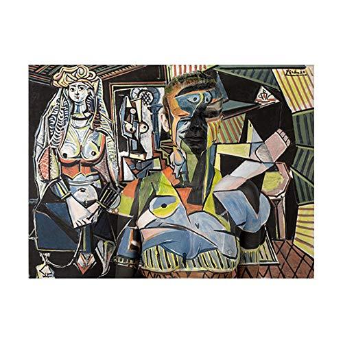 Pablo Picasso Famosos oLeo Pintura Mujeres Poster De Argel Lienzo Impresiones Abstracto Pared Arte Cuadros para Salon Sala Decoracion 50x70cm No Marco