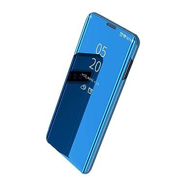 Funda para Samsung Galaxy S10/S10 Plus Carcasa Espejo Mirror Flip Caso Ultra Delgada Protector Shock Absorbing Caja del Teléfono Translucent Window ...