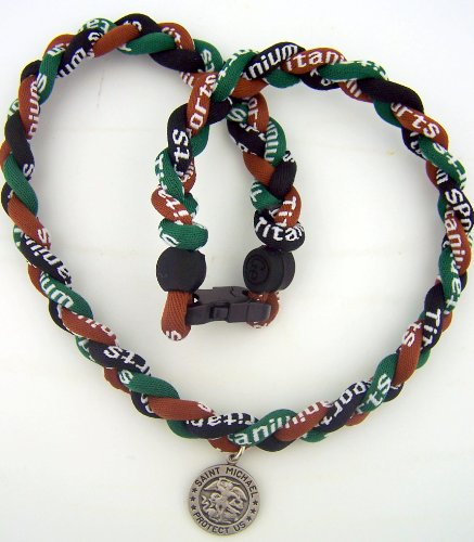 Rare Titanium Fiber Sport Braided 20 Inch Camouflage Necklace W St Michael Us Army Protect Medal