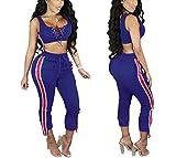 Women's 2 Pieces outfits Lace Up Crop Tank Top+Ankle Pant Sweatsuits Set Tracksuits Medium Blue