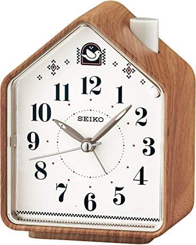 SEIKO Bedside Beep Alarm or 2 Bird Songs Clock – Wood Pattern