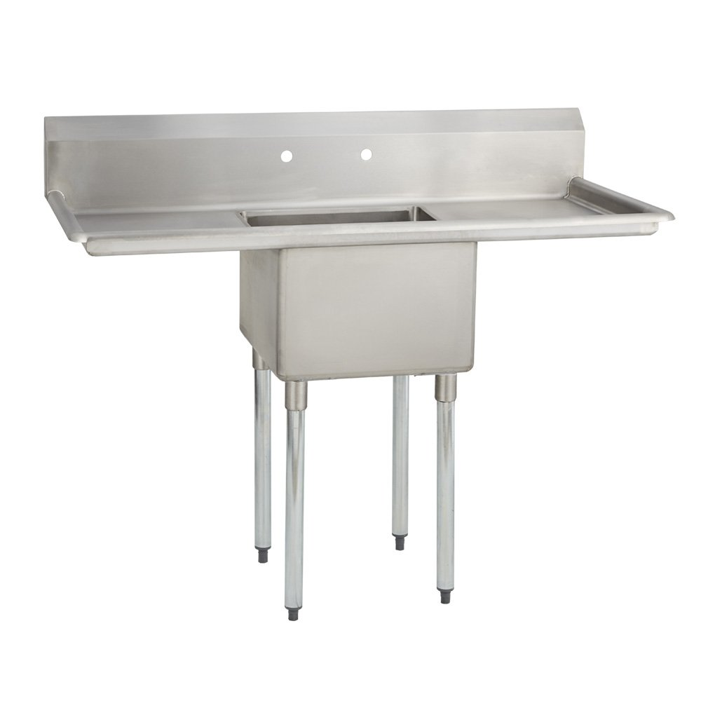 Fenix Sol One Compartment Stainless Steel Sink, Bowl: 18''L x 24''W x 12''D, Overall Size: 54''L x 29.8''W x 43''H, 2 x 18'' Drainboards, Galv Legs by FENIX SOL