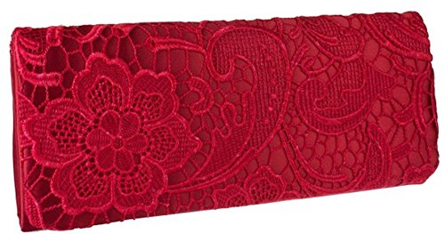 bag Prom Stylla clutch Satin Wedding Red Floral Womens Lace Evening OxO0qaI4w