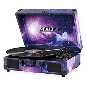 Victrola Vintage 3-Speed Bluetooth Suitcase Turntable with Speaker (Bundle) Includes 1 Extra Needle Replacement!