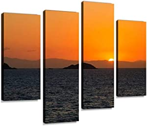 IGOONE 4 Panels Canvas Paintings - Sun Sets Over The Coral sea and Queensland Coast Green sea Turtle - Wall Art Modern Posters Framed Ready to Hang for Home Wall Decor