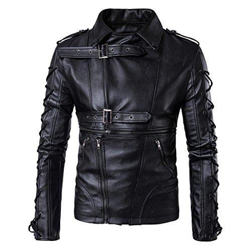 amp;S amp;S amp;S Black Black Black Black in Casuale bavero finta manica MEI rivestire giacche Biker pelle Uomini Slim lunga FqdwOOSx