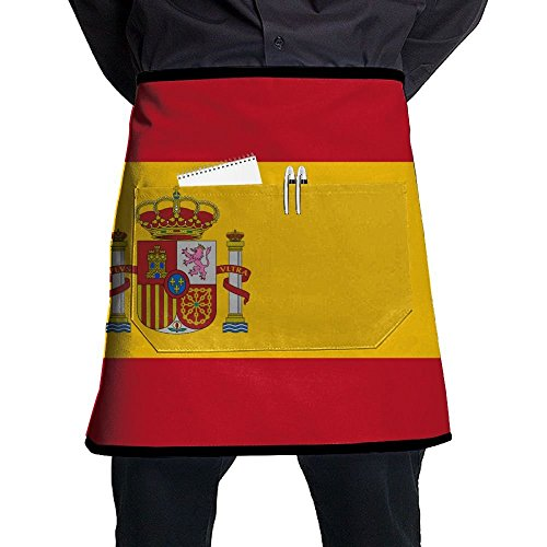Waist Aprons Flag Of Spain Half Bistro Apron With Pockets For Men Women by SAPOY