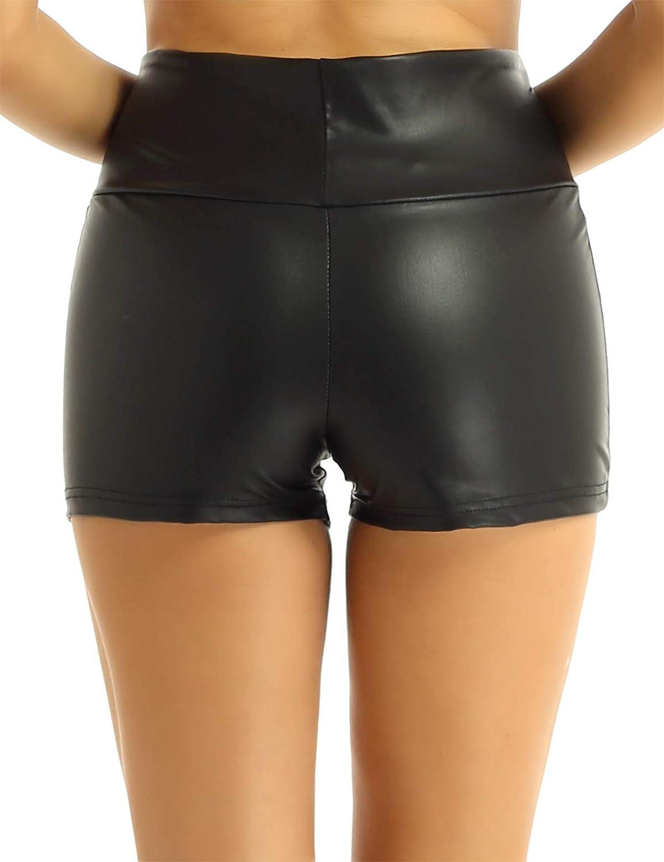 iiniim Shorts Chaud Femme Brillant Cuir Artificiel Taille Haute Culotte Contr/ôle du Ventre Short Danse Fi/évreuse Moderne Jazz Pantalon Mini Soir/ée Clubwear Dancewear S-L