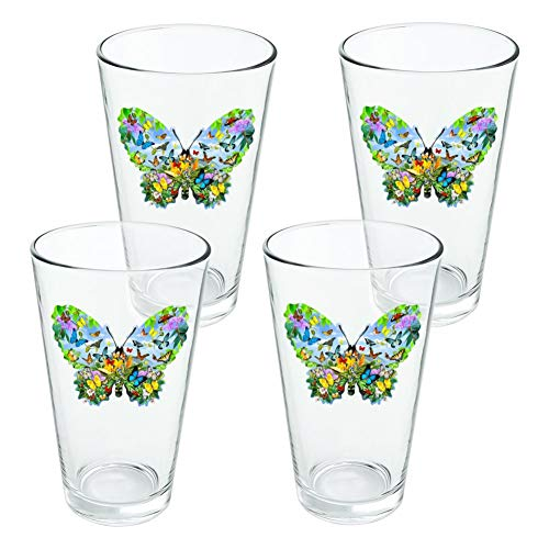 (Butterflies in Butterfly Shape Novelty 16oz Pint Drinking Glass Tempered - Set of 4)