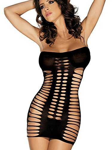 Women's Sexy Seamless Cut Out Tube Bodysuit Mini Dresses Hosiery Chemise Lingerie (Hosiery Sexy)