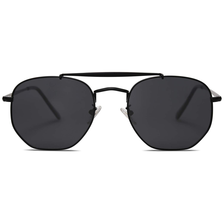 SOJOS Classic Aviator Polarized Square Sunglasses for Men and Women Mirrored Lens COLONEL SJ1122 with Matt Black Frame/Grey Polarized Lens by SOJOS
