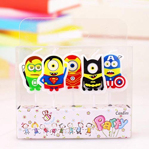 Astra Gourmet 5 Pieces/lot Superhero Style Minions Decorative Birthday Cake Candles Kids Birthday Party Favors Supplies Baby Shower ()