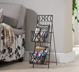 Kings Brand Furniture Black Finish Metal 2 Tier Magazine Rack Stand